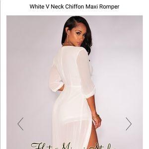 b7769ad4de8 Hot Miami Styles Dresses - White chiffon maxi romper